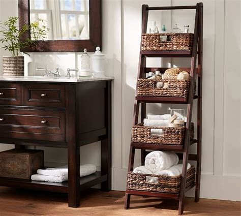 Benchwright Ladder Floor Storage Pottery Barn Pottery Barn Bathroom Storage