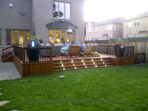 2 decks with interlock and landscaping design toronto