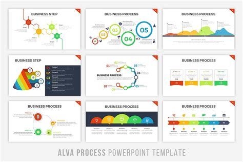 Alva Process Powerpoint Template By Brandearth Thehungryjpeg Com Business Process Powerpoint Templates