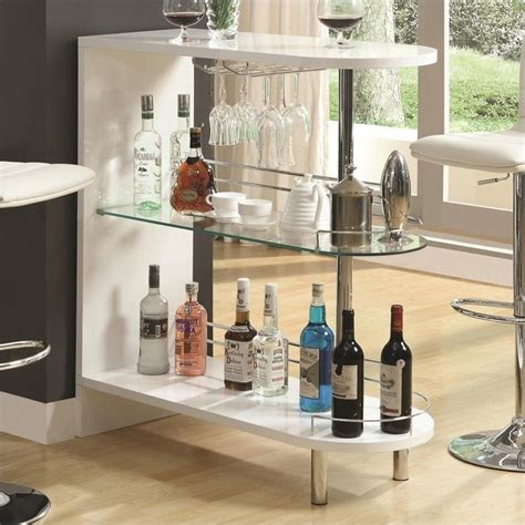 Living Room Bar Sets Coaster Contemporary Home Bar Table With Glass Shelf In White 101064