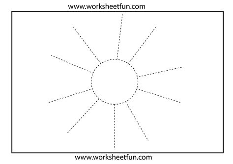 picture tracing sun 1 worksheet free printable
