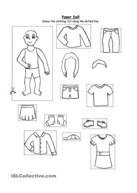 activities kindergarten esl paper doll clothing for kindergarten and 1st graders