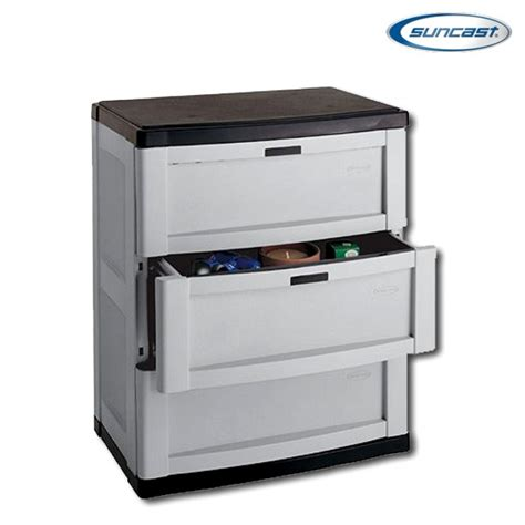 suncast resin storage cabinets suncast c3703g 3 drawer base cabinet