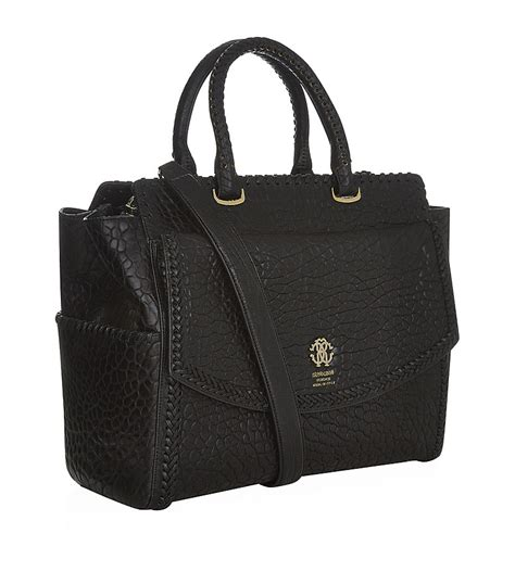 Roberto Cavalli Tote by Lyst Roberto Cavalli Textured Leather Tote Bag In Black