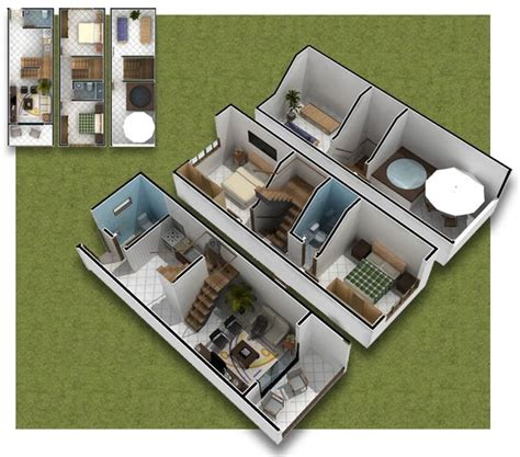 planos de casas en 3d planos de casa de 3 pisos en 3d casas peque 209 as 35m2
