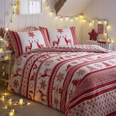 christmas bedding christmas holiday santa reindeer quilt duvet comforter cover bedding set queen ebay