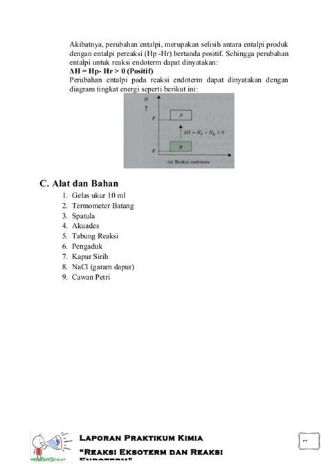 contoh laporan fotosintesis reaksi eksoterm dan reaksi endoterm laporan praktikum