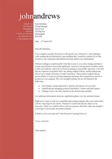 sle of covering letter for cv sales manager cv exle free cv template sales