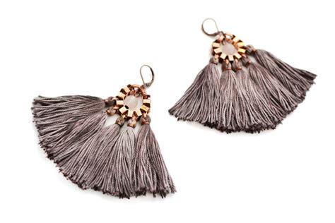 Anting With Hanging Tassel Earrings Tassel Earrings Taupe Fringe Earrings Hippie Earrings