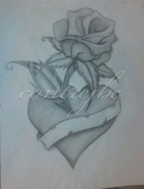 heart rose drawing by contrejbc on deviantart