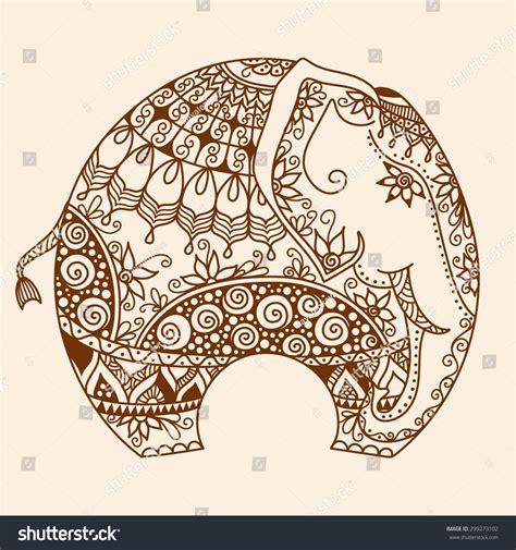 indian elephant doodle vector handdrawn henna mehndi doodle stock vector