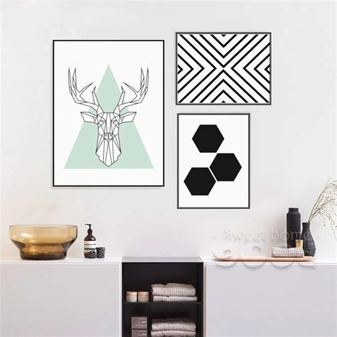 simple home interior decorating with remarkable wall art on beige themed near library behind simple style canvas art print painting poster deer head