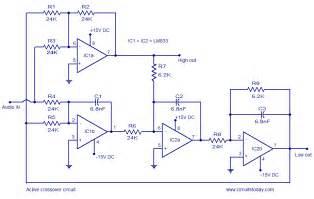 active crossover circuit schematic design and diagram