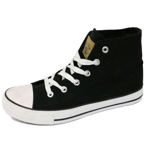 shoes for teenagers boys canvas hi top black boots trainer shoes