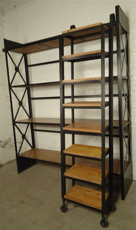iron and wood bookcase industrial wood and iron shelving unit with sliding ladder