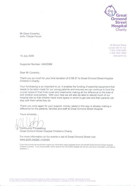 Cancer Research Donation Letter Atf Charity Fundraising 2007 8 Thank You Letters The