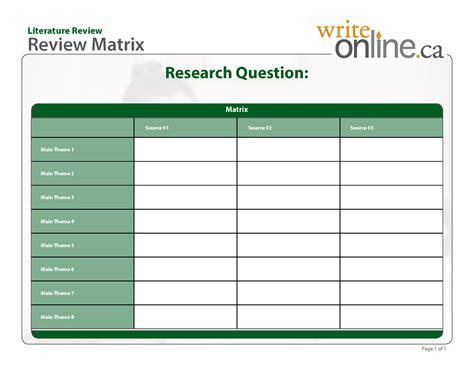 template matrix table template