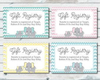 printable baby shower registry card template invitation insert etsy