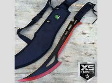 "24"" TACTICAL SURVIVAL Fixed Blade ZOMBIE MACHETE Hunting ... Japanese Katana Sword White"