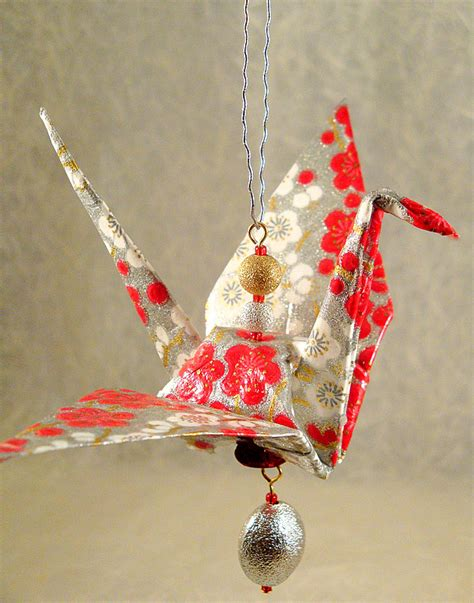 origami crane ornament paper demon jewelry