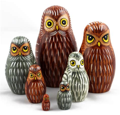 Russian Dolls The New Butterflies Owlsbirds And by Owls Matryoshka Russian Wooden Nesting Stacking Dolls By