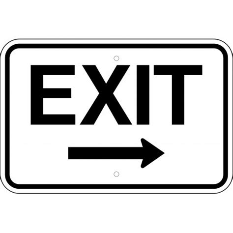 exit right arrow sign 18 x 12 available in three