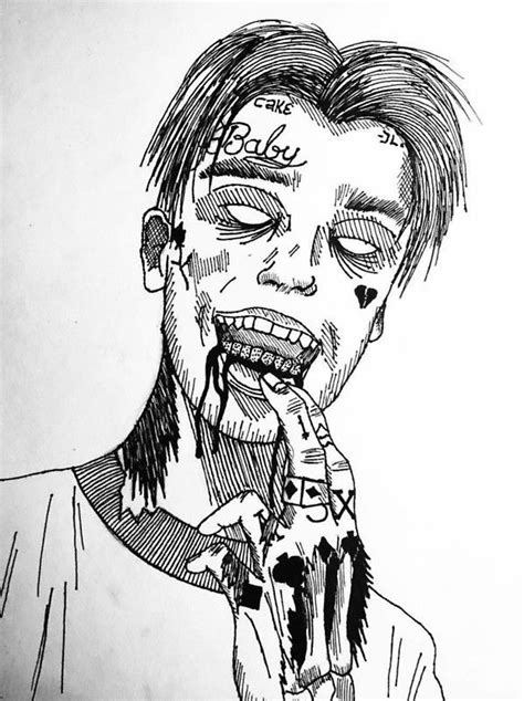 Drawing 6ix9ine by Lil Peep Lil Peep Rapper Drawings And