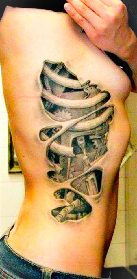 side rib tattoos biomechanical of rib side gears black grey