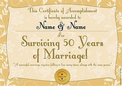 Golden Anniversary Personalised Certificate A3 Wedding Anniversary Certificate Template