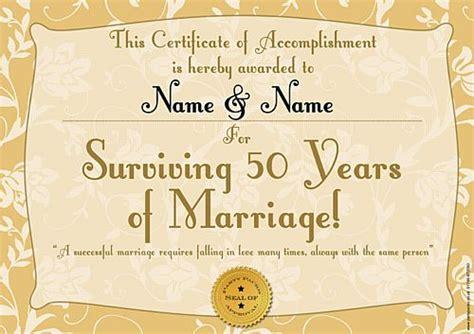 Wedding Anniversary Gift Certificate by Golden Anniversary Personalised Certificate A3
