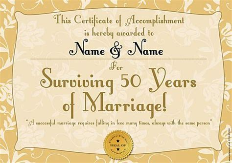 'Golden Anniversary' Personalised Certificate   A3