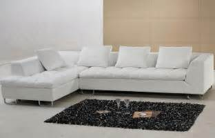 Modern Contemporary Sectional Sofa White Contemporary L Shaped Leather Sectional Sofa Pillows Tosh Furniture Ebay