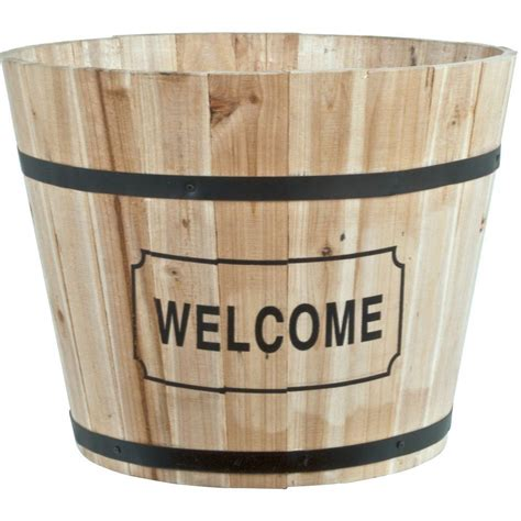 pride garden products 15 in wood barrel planter with