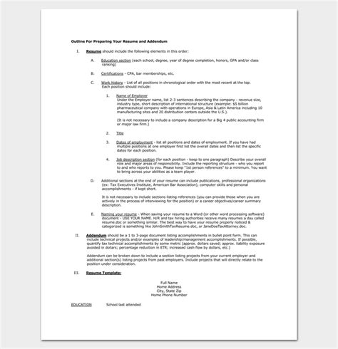 Preparing A Resume For A resume outline template 19 for word and pdf format