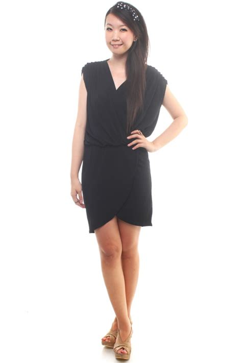 V Neck Draped Dress The Label Junkie