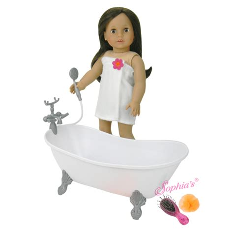 white plastic bathtub and shower for 18 inch dolls