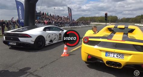 Lamborghini Vs Ferrari by Lamborghini Huracan Vs Ferrari 458 Spider Drag Race Has A