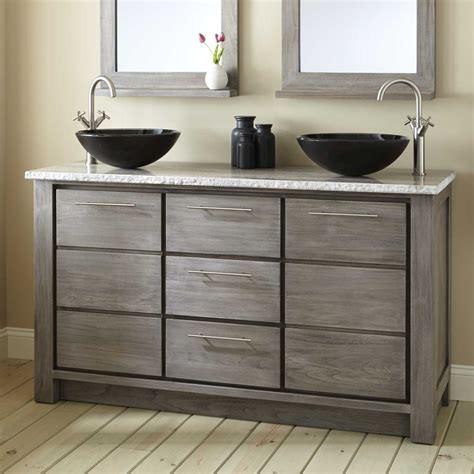 60 Quot Venica Teak Double Vessel Sinks Vanity Gray Wash Bathrooms Vanity Cabinets