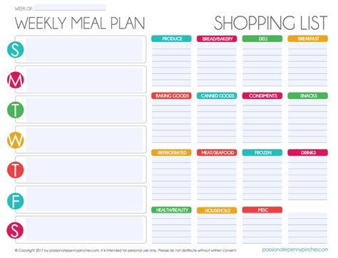 Free Editable Menu Plan And Grocery List Passionate Penny Pincher Organization Meal Plan Free Weekly Meal Planner Template With Grocery List