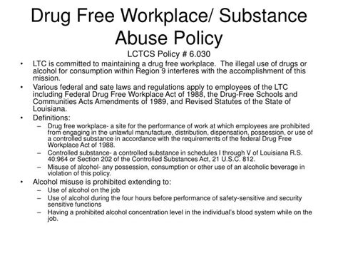 and abuse policy template ppt free workplace substance abuse policy lctcs