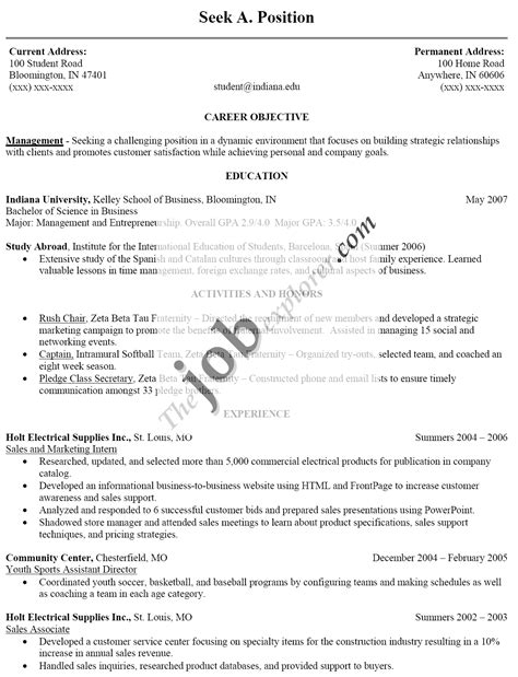 doc 10201373 sle resume exles for objectives on resume sle bizdoska