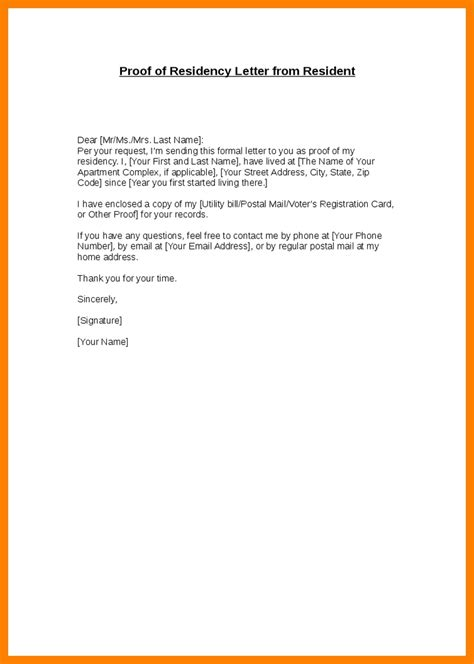 landlord proof of residency letter template 4 proof of address letter from landlord resumed