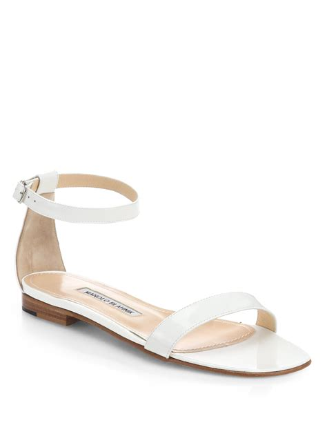 ankle sandals manolo blahnik chafla patent leather ankle sandals