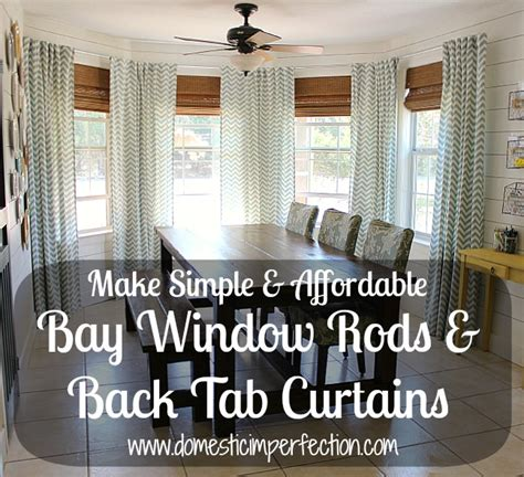 how do you put curtains on a bay window diy bay window curtain rod back tab curtains domestic