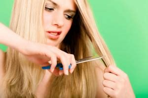 cut off long blonde hair crying and cutting off her hair