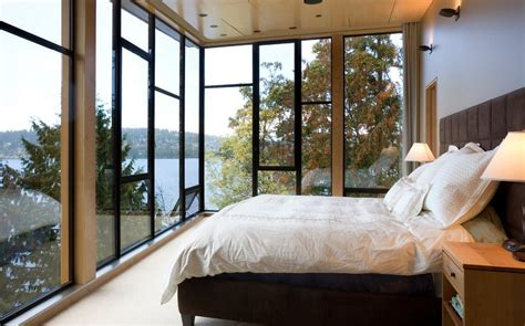 ceiling to floor windows elements needed for creating a warm rustic bedroom