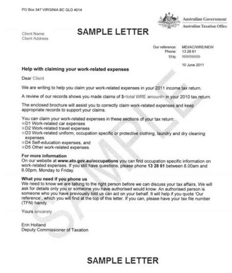 Tax Credits Enquiry Letter Single Person Claim Ato Work Expenses Letter Sent To 300 000 Australians