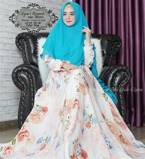 Gamis Monalisa Motif Tartan Biru model baju gamis motif bunga terbaru riyanti syar i