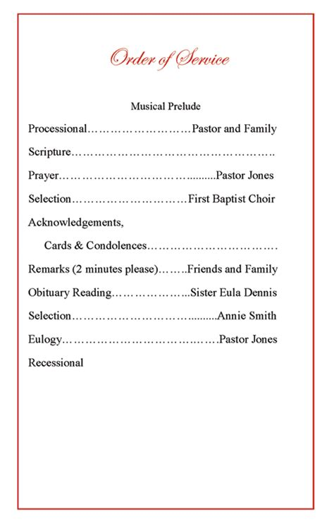 Funeral Program Order Of Service Music Search Engine At Search Com Funeral Order Of Service Template Free