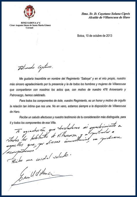 ejemplos de cartas de agradecimiento por participar en un agradecimiento del coronel del regimiento saboya
